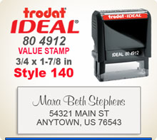 Trodat Ideal 80 4912 Quick Set Discount Stamp Style 140. This Personalized Trodat Ideal 80 4912 Self Inking Stamp displayed here has a 3/4 x 1-7/8 inch imprint area. Style 140 features mixed type faces to look like a letter head layout.