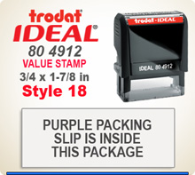 Trodat Ideal 80 4912 Quick Set Discount Stamp Style 18. This Personalized Trodat Ideal 80 4912 Self Inking Stamp displayed here has a 3/4 x 1-7/8 inch imprint area. Style 18 features multiple lines of Helvetica Condensed Font Type Face.