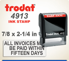 Trodat Ideal 100 4913 Quick Set Discount Stamp Style 136. This Personalized Trodat Ideal 100 4913 Self Inking Stamp displayed here has a 7/8 x 2-1/4 inch imprint area.