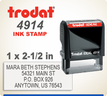 Trodat Ideal 200 4914 Quick Set Discount Stamp Style 136. This Personalized Trodat Ideal 200 4914 Self Inking Stamp displayed here has a 1 x 2-1/2 inch imprint area.