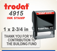 Trodat 4915 Quick Set Discount Stamp Style 136. This Personalized Trodat 4915 Self Inking Stamp displayed here has a 1 x 2-3/4 inch imprint area.