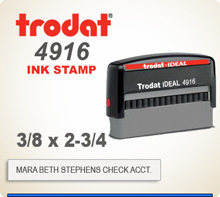 Trodat 4916 Quick Set Discount Stamp Style 10. This Personalized Trodat 4916 Self Inking Stamp displayed here has a 3/8 x 2-3/4 inch imprint area.