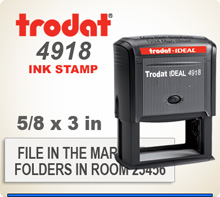 Trodat 4918 Quick Set Discount Stamp Style 32. This Personalized Trodat 4915 Self Inking Stamp displayed here has a .675 x 3 inch imprint area.