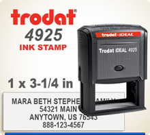 Trodat 4925 Quick Set Discount Stamp Style 18. This Personalized Trodat 4925 Self Inking Stamp displayed here has a 1x 3-1/4 inch imprint area.