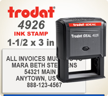 Trodat 4926 Quick Set Discount Stamp Style 32. This Personalized Trodat 4925 Self Inking Stamp displayed here has a 1x 3 inch imprint area.