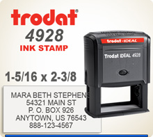 Trodat 4928 Quick Set Discount Stamp Style 10. This Personalized Trodat 4928 Self Inking Stamp displayed here has a 1-5/16 x 2-3/8 inch imprint area.