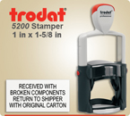 Order Trodat Professional Self Inking Rubber Stamp No. 5200 online – This Trodat Stamper has a 1 x 1-5/8 inch impression area.