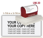 Order Ultimark Pre Inked Rubber Stamp No. UM 30. Stamp is 1-7/8 x 3-7/8 inches in impression size. Ultimark Pre Inked Rubber Stamps are absolutely top quality.