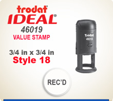 Trodat Ideal 170 or 46019 or 4922 Quick Set Discount Stamp. These Personalized Trodat Ideal Self Inking Stamps displayed here have a 3/4 inch round or square imprint area.